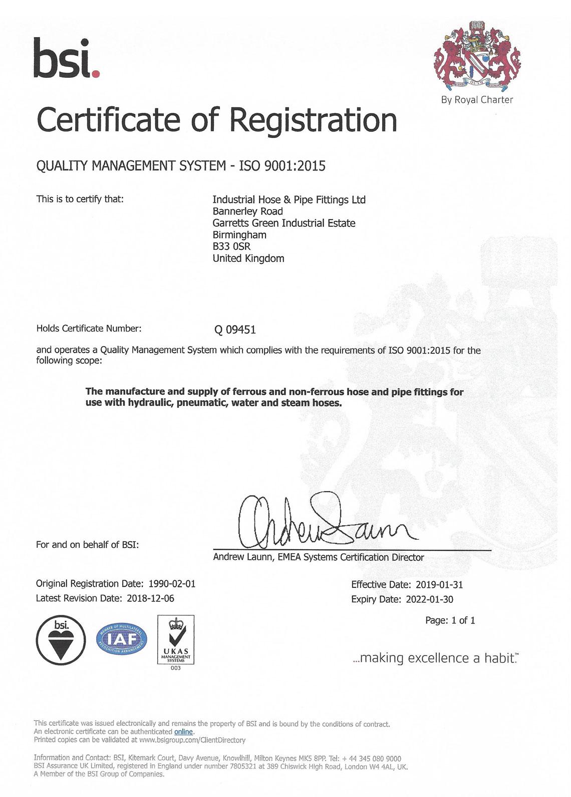 bsi certificate