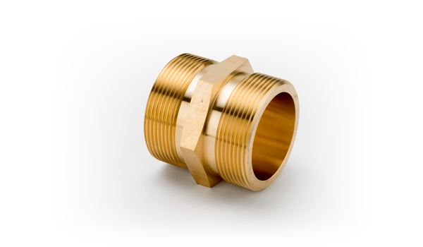 3/4 x 1/2 Brass Double Cone Adaptor Flat Seated Taper Thread
