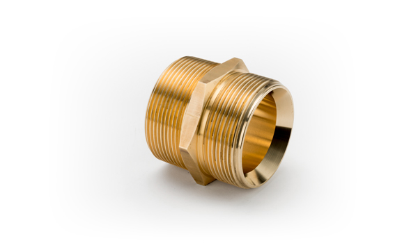 1/4 x 1/8 Brass Double Male Parallel Coned X Taper